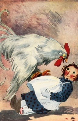 Raggedy Ann and the rooster