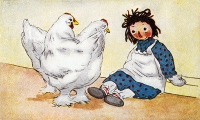 Raggedy Ann and chickens